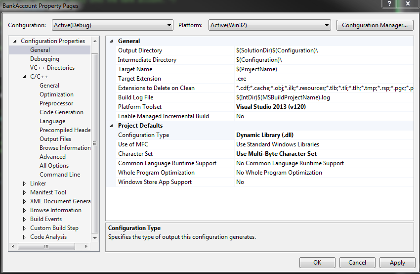 This picture shows the Microsoft Visual Studio 2013 Project Properties Menu, in which the Configuration>General menu item is selected.  The project's Configuration Type is set to Dynamic Library.